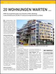 Presseartikel aus dem Immokurier über das RVW Projekt Schönbrunner Straße 217. Nur mehr 20 Wohnungen verfügbar.