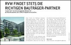 Pressebericht des Immobilienmagazins über RVW Erfolgspartnerschaften mit Bauträgern